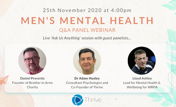 Men's Mental Health Free Q&A Panel Webinar-Wednesday 25th November, 4 pm - 5 pm